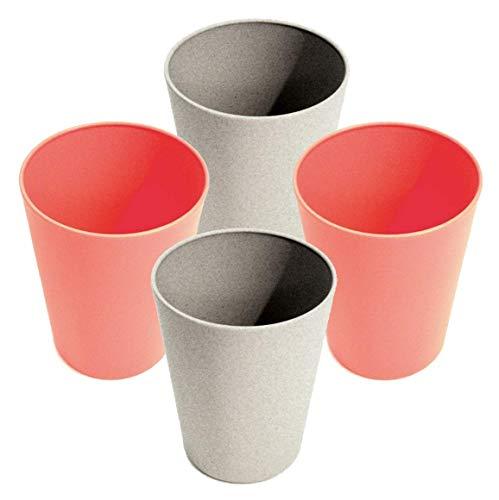 AMTBABY Vaso reutilizable de fibra de bambu y almidon de maíz para niño. Juego de 4 tazas biodegradables y organicas. Vajilla para picnic, camping, agua, zumo, leche, y toda la familia. Rosa - Gris