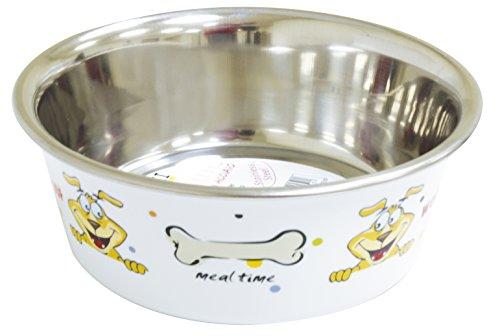 Croci Bol Woof en Acier pour Chat Blanc 1500 ml/21 cm