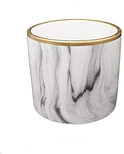 Plant Pot Perforated matte white marbled gold-plated cylindrical straight ceramic pot, non-porous cylindrical tabletop ceramic pot, balcony with hole green planter, balcony without hole green planter