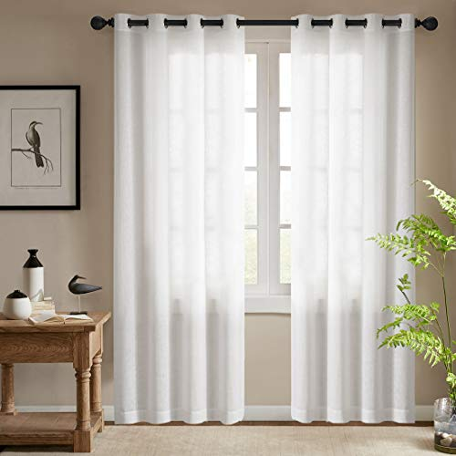 JINCHAN White Curtains for Living Room Window Curtains 84 Inches Long Casual Weave Textured Privacy Long Curtains for Bedroom Window Treatments Sets 2 Panel Sets