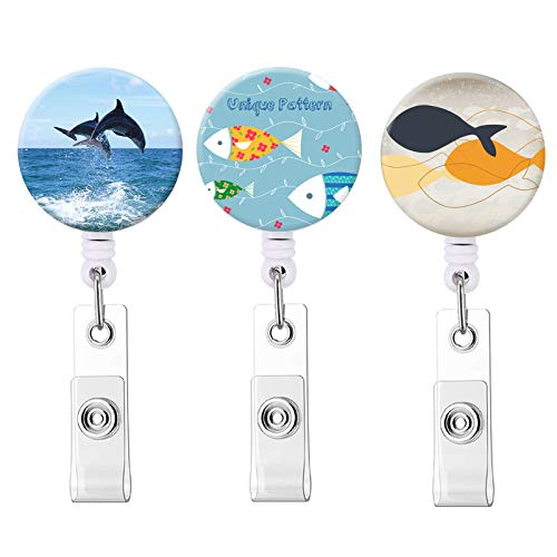 Badge Reel, Badge Reels Retractable Cute ID Card Badge Holder with Alligator Clip, Name Nurse Decorative Badge Reel Clip on Card Holders (Fish & Whale / 3 Pack)