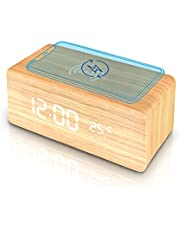 Wooden Alarm Clock with Wireless Charging Pad, LED Digital Clock with Large Date and Temperature Display, Sound Control, Adjustable Brightness, Suitable for Bedroom, Office, Bedside