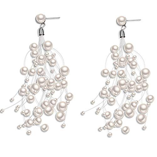 #N/A Pendientes largos con borla de imitación de perlas pendientes colgantes pendientes bohemios boda nupcial pendientes pendientes pendientes de plata 925 perforados en gota (blanco)