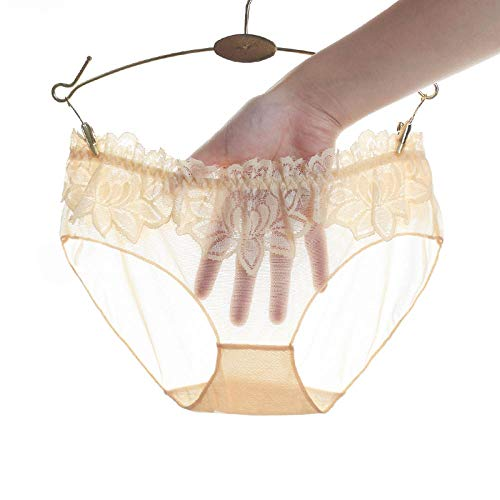 Ultradünne Damenunterwäsche durchscheinende Mesh-Spitzenslips weibliche atmungsaktive bestickte bestickte Dessous-Unterhose-Haut_L