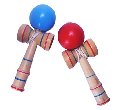 Fengirl 2pcs Kendama,Strengthens Hand-Eye Coordination, Balance, and Reflex (Red and Blue)