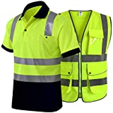 JKSafety 9 Multiple Pockets High Reflective Safety Vest and Hi-Vis Reflective Safety Polo Shirt | ANSI / ISEA Class 2 / Level 2 (Size 3X-Large)