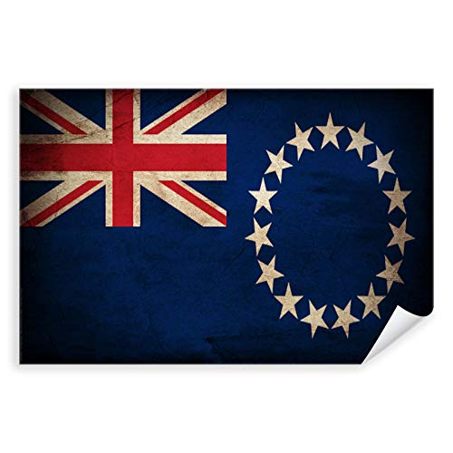 Postereck - 0378 - Vintage Flagge, Fahne Cookinseln Avarua - Unterricht Klassenzimmer Schule Wandposter Fotoposter Bilder Wandbild Wandbilder - Leinwand - 100,0 cm x 75,0 cm
