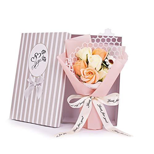 DERCLIVE Jabón Perfumado Rosa Flor 7 Rosas Ramo de Flores Artificiales Regalo para Cumpleaños Día de San Valentín Día de La Madre Realista Como Rosas Recién Cortadas Del Jardín