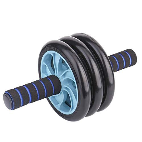 Mit extra dicken Knie-Pad-Matt-Körper-Fitness-Kraft-Trainingsmaschine, DREI Räder Bauchraffer-Rad für Heim-Fitnessstudio-Training Gewichtsverlust Trainer (Color : Blue)