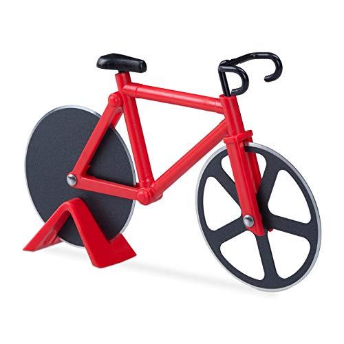 Relaxdays Fahrrad Pizzaschneider, lustiger Pizzaroller mit Schneiderädern aus Edelstahl, Cutter für Pizza & Teig, rot