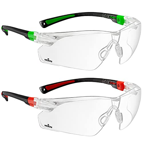 NoCry Safety Glasses Black & Green Frames and Black & Red Frames Bundle; with Clear Anti Fog Scratch Resistant Wrap-Around Lenses and No-Slip Grips, UV Protection