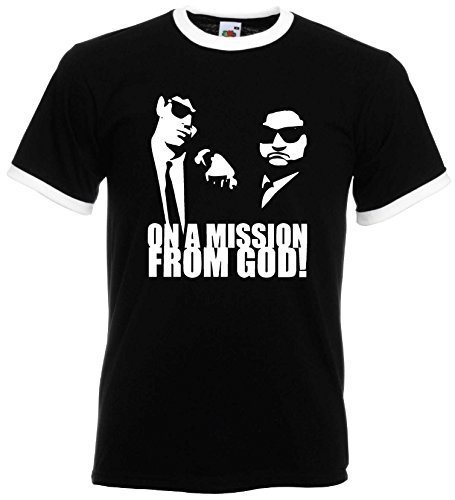 Blues Brothers Herren Retro T-Shirt on a Mission from God Schwarz-XXL