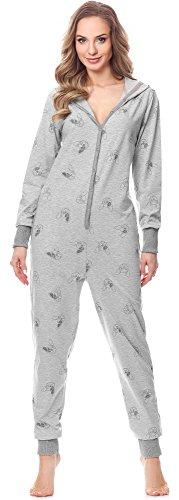 Merry Style Damen Jumpsuit Schlafanzug MSLL1005 (Melange/Hund, L)