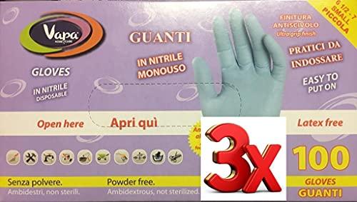 Guanti Monouso in Nitrile senza Polvere, Blu, Scatola da 100 pz (3, S)