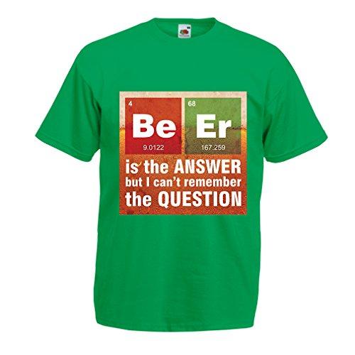 lepni.me Camisetas Hombre La Cerveza es la Respuesta! Científico Inteligente, Amante de la química. (XXX-Large Verde Multicolor)