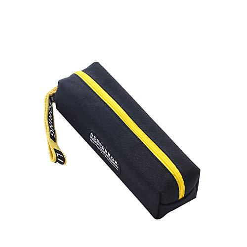 Chakil federmäppchen Vielseitig einsetzbares mäppchen school supplies Leinwan-Federmäppchen Pencil Case Bleistift Hülle Makeup Tasche, 21cm*5.5cm,Leinwan,Quadrat schwarz
