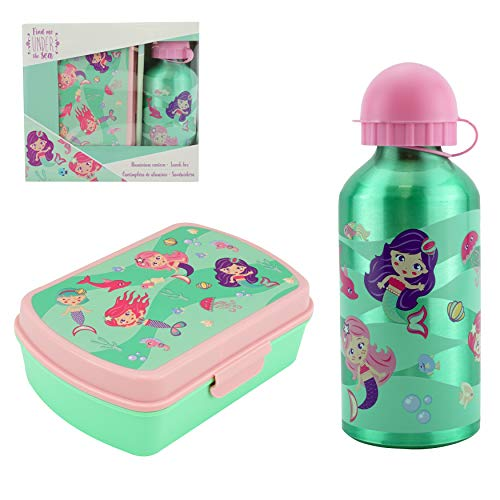 SRV Hub - Juego de 2 fiambrera y botella de agua deportiva para niños, ideal para niñas y niños, botella de aluminio no tóxica, color verde