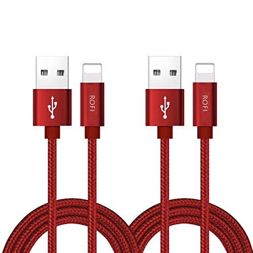 RoFI Phone Charger Cable, [2Pack 2 Feet] Nylon Braided Fast Charging USB Cord 0.6M Compatible Phone X 8 8 Plus 7 7 Plus 6s 6s Plus 6 6 Plus 5 5S 5C SE Air Mini and Car Display (Red)