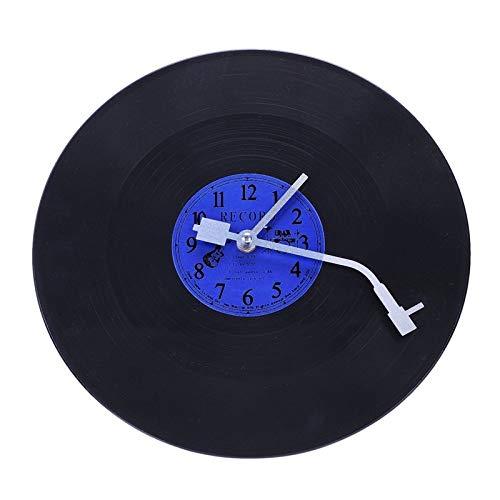 no-branded Reloj retro de cuarzo redondo retro reloj de pared diseño arte decoración del hogar vinilo disco reloj azul y negro plástico ZHQHYQHHX
