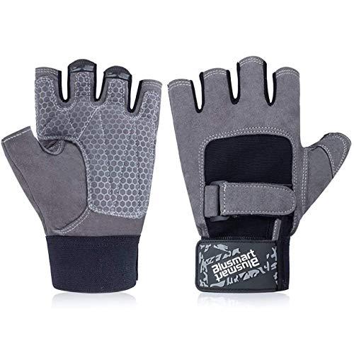 Blusmart Fitness Handschuhe, Trainingshandschuhe Halbfinger Fitnesshandschuhe Sport Handschuhen mit Adjustable Handflächenschutz Silica Gel Grip für Gewichtheben Gym Radfahren (Männer und Frauen) (M)