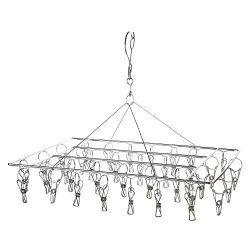 Keador Stainless Steel Clothes Drying Rack 36 Clips Metal Clothespins Metal Clothespins Rectangle for Drying Socks Drying Towels Diapers Bras Baby Clothes Underwear