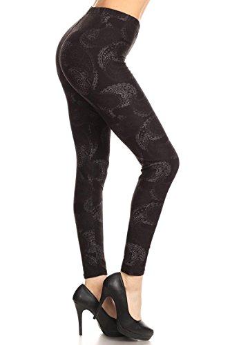 R707-OS Fading Paisley Printed Fashion Leggings, One Size