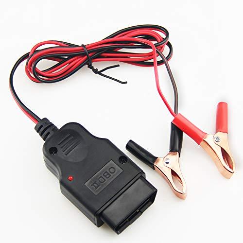 OBD2 Memory Saver Cable OBDII Car ECU Memory Saver Conector con 2 pinzas de cocodrilo, herramienta de sustitución de batería OBD Car para cambio de batería de 12 V