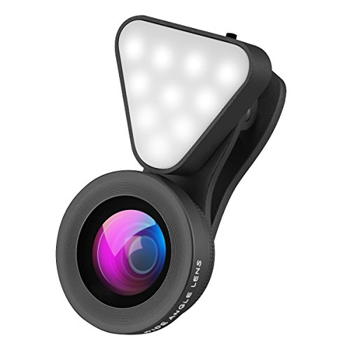 Wallfire 3 in 1 Cell Phone Lens with 3 Adjustable Brightness Fill Light,15X Macro 0.4X-0.6X Wide Angle Lens, HD Camera Lens for iPhone 7/7 Plus/6s/6s Plus/6/5, Samsung & Most Smartphones