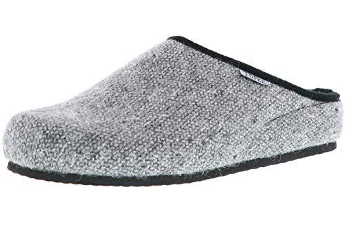 TOFEE Herren Hausschuhe Pantoffeln Naturwollfilz grau, Größe:40, Farbe:Grau