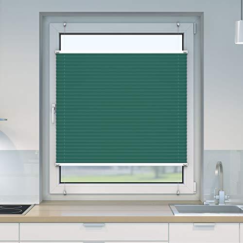 Victoria M. Easyfix Plissee Faltrollo ohne Bohren Plisseeanlage Klemmfix mit Klemmträger für Fenster und Türen, Größe: 100 x 150 cm, Farbe: grün-blau