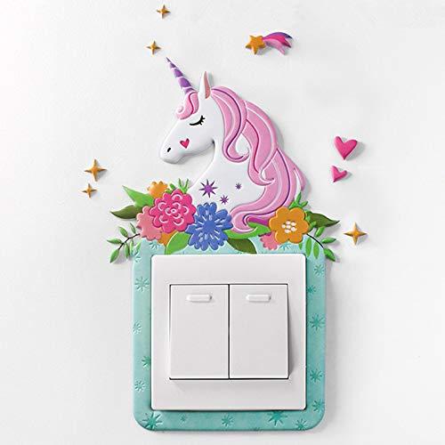 Kacniohen Sala de la Historieta de la Cubierta del Unicornio Animales Decoración Pared 3D de Silicona Encendido-Apagado el Interruptor Luminoso Interruptor de la luz de Salida Etiqueta de la Pared