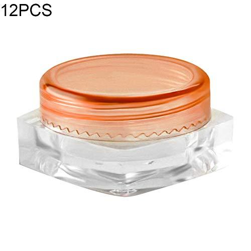 P12cheng Lot de 12 flacons vides en Plastique Transparent 3 g pour échantillons de Poudre, Perles, crème de Maquillage – Rose Rouge