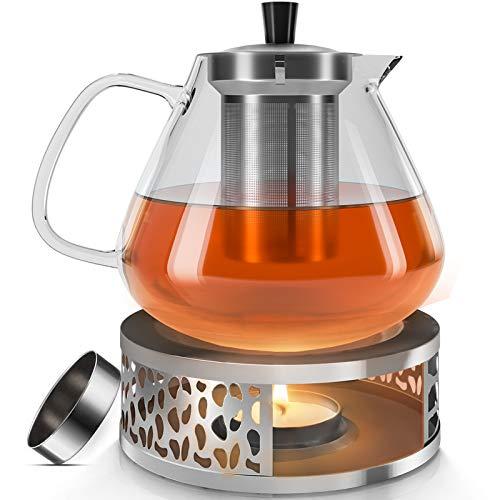 FMK Teekanne Glas Teebereiter 1500ml mit abnehmbare Edelstahl-Sieb Glaskanne Aufheizen auf dem Herd