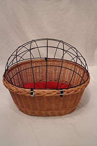Hundefahrradkorb für Fahradlenker aus Weide mit Metallgitter und Kissen XL oder XXL Lenkrad Weidenkorb Hundekorb Lenkerkorb Einkaufskorb Natur (XXL mit Kissen)