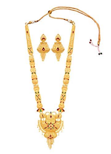 Mansiyaorange Party One Gram Gold Forming Premium Long Haram Multi Color Jewellery...