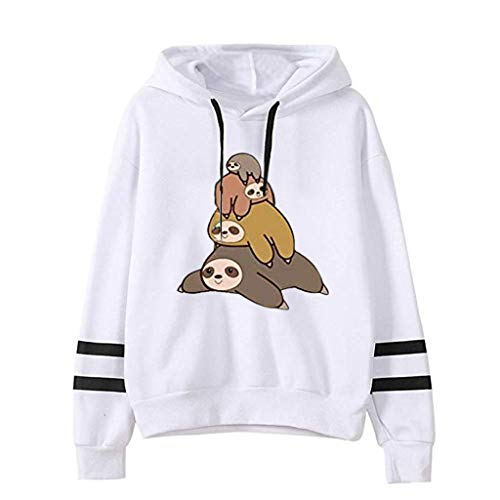 EDC Hoodies for Women Pullover Funny Cute Anime Sloth Print Long Sleeve Drawstring Hooded Sweatshirt with Stripes on Arm White