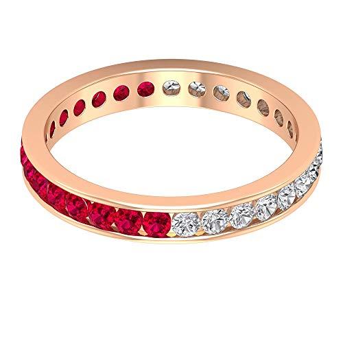 Rosec Jewels 14 quilates oro rosa redonda round-brilliant-shape H-I Red Diamond Ruby