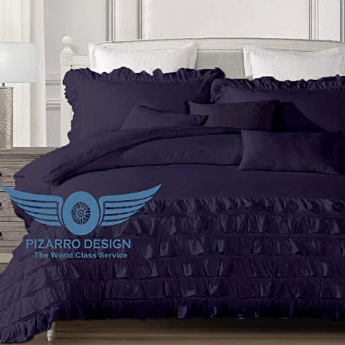 PIZARRO DESIGN 1000-TC, hipoalergénico, diseño ultrasuave, 100% algodón egipcio, 137 x 203 cm, tamaño individual, color azul marino sólido medio volante, con cierre de cremallera y juego de 2 fundas de almohada