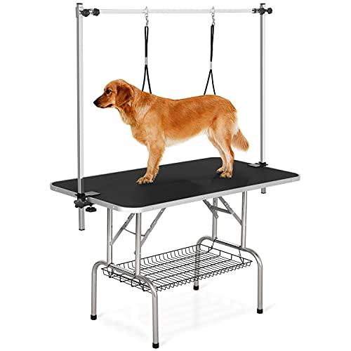 Yaheetech Mesa de Peluquería para Mascotas Grande 118x60x177cm Plegable Mesa de Aseo para Perro Canina Altura Ajustable