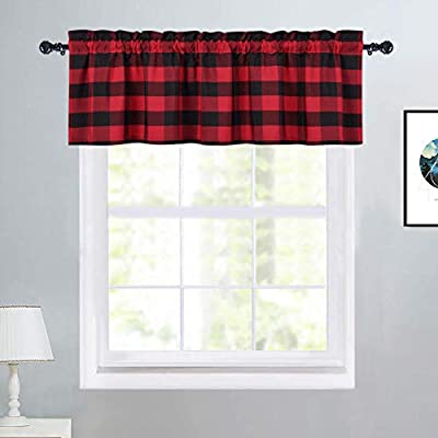 """Haperlare Kitchen Curtain Valance, FarmhouseBuffalo Check Red and Black Valance Curtains for Windows Plaid GinghamChristmas Window Treatment Decor Rod Pocket Cafe Curtains, 52"""" W x 15"""" L, One Panel"""
