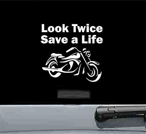Look Twice Save A Life - Vinilo adhesivo para casco de motocicleta,...