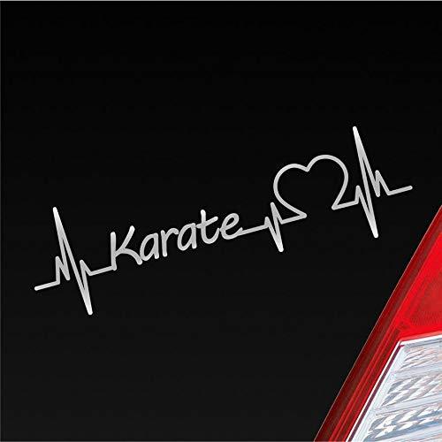 Hellweg Druckerei Auto Aufkleber Karate Herzschlag Okinawa Kampfkunst Sport Sticker Liebe Silber