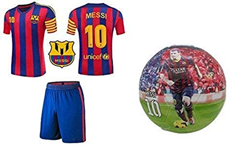 Lionel Messi #10 Soccer Jersey Youth - Premium Messi Jersey Gift Set for Kids - Leo Messi Jersey + Shorts + Messi Ball Size 5 Football Futbol Gift for Boys Girls (YM 8-10 Years, Jersey+Ball)