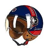 Dgtyui Casco moto 3/4, casco Jet Vintage Retro, casco scooter con lenti argentate leggere per proteggere occhi e pelle - 17 XM