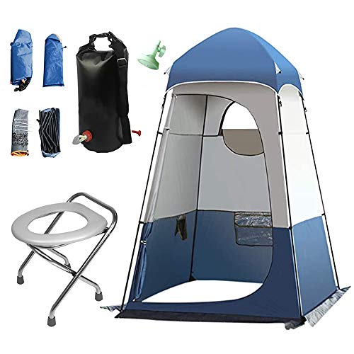 S SMAUTOP Portable Outdoor Shower Tent Large Space Privacy Tent and 5 Gallons/20L Shower Bag and Portable Folding Toilet Seat with Garbage Bags, for Changing/Shower/Toilet