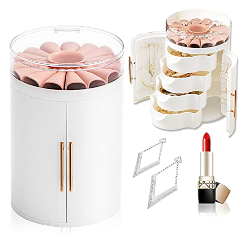 Asion Jewelry Organizer Box For Earring Necklace Ring Bracelet with Clear Lid 4 Drawer Flower Jewelry Display Storage Case For Girls women