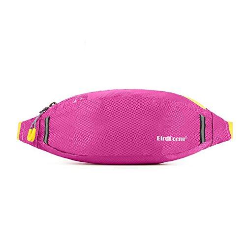 Sunny Sac De Taille Pack Poitrine Anti-vol Sports De Plein Air Écouter De La Musique Jogging Fitness Trou De Casque (Couleur : Rose Rouge)