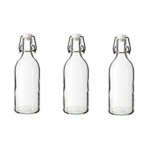 IKEA KORKEN Flaschen mit Verschluss; aus Klarglas; (0,5l); 3 Stück