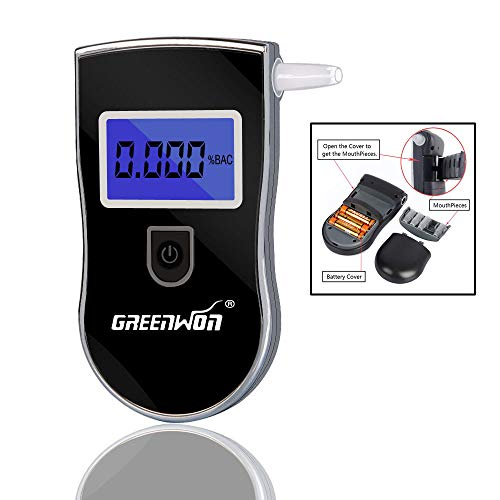 GREENWON Alcohol Tester, Digital Alcohol Tester, Breathalyzer, Breathalizer for Alcohol, Portable with LCD Display Personal Use, Black