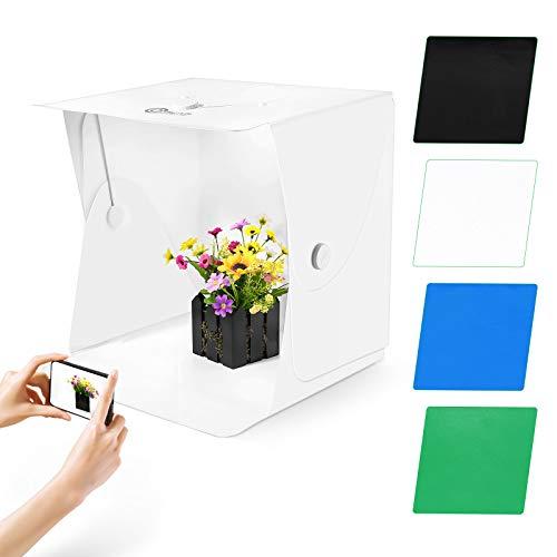 OMBAR Fotostudio 40x40x40cm Fotozelt Lichtzelt Tragbare Faltbare Lichtbox Fotobox 102 LED Studiobox Fotografie Softbox Kit mit 4 Hintergründen(schwarz,...